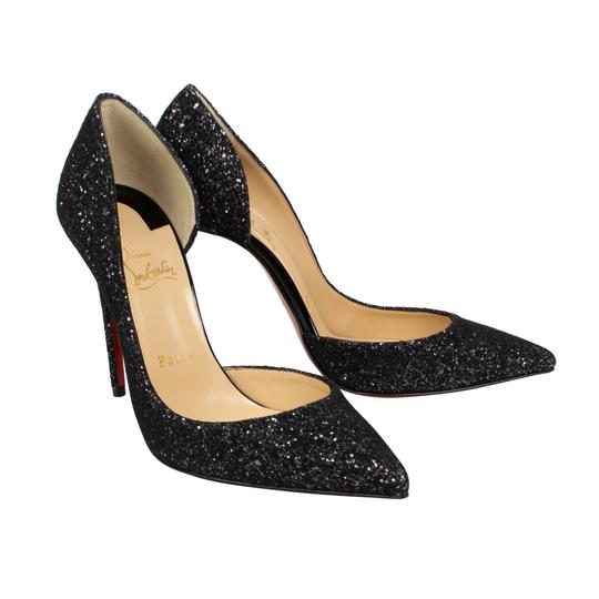 Christian Louboutin Leather Pointed Toe Sparkle Glitter Black Pumps Image 1