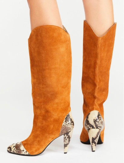 Jeffrey Campbell Tan Suede Combo Boots Image 1