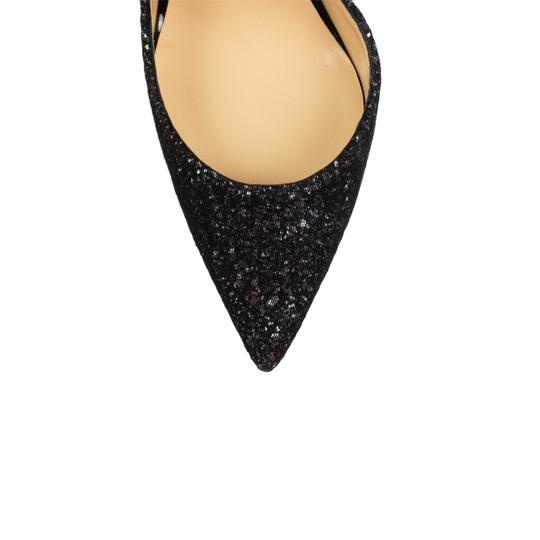 Christian Louboutin Leather Pointed Toe Sparkle Glitter Black Pumps Image 4