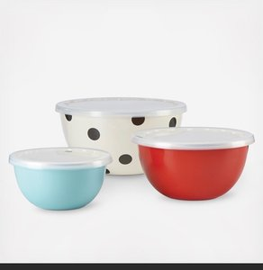 Kate Spade Deco Dot All In Good Taste 3 Piece Serve and Store with Lid Set Cookware