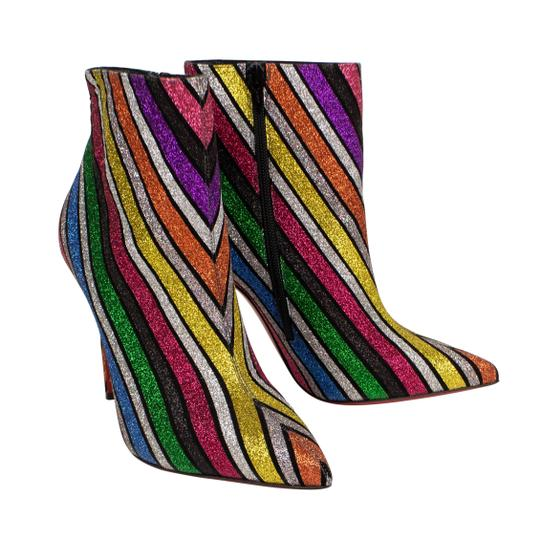 Christian Louboutin Glitter Striped Sparkle Pointed Toe Multi-Color Boots Image 1