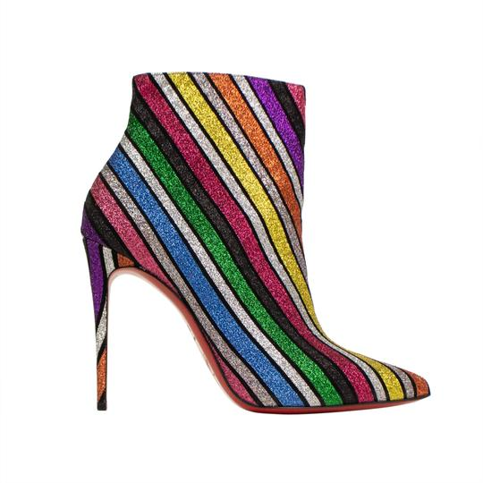 Christian Louboutin Glitter Striped Sparkle Pointed Toe Multi-Color Boots Image 2