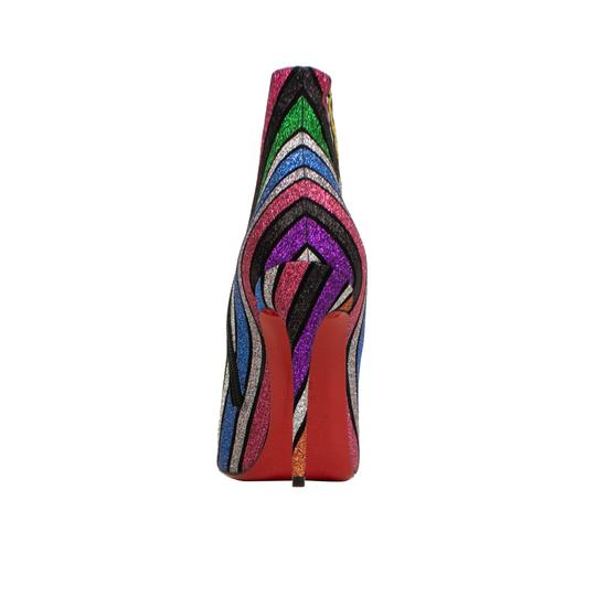 Christian Louboutin Glitter Striped Sparkle Pointed Toe Multi-Color Boots Image 3