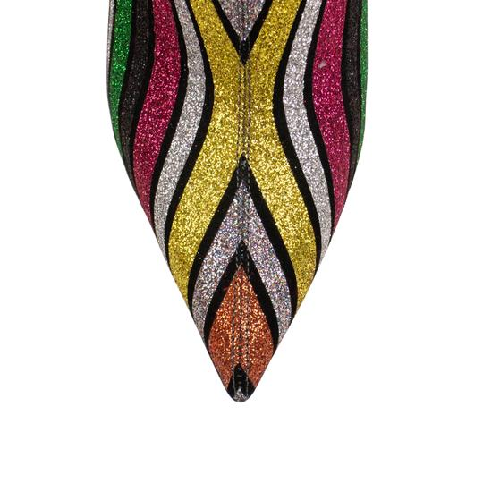 Christian Louboutin Glitter Striped Sparkle Pointed Toe Multi-Color Boots Image 4