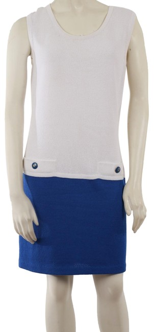 Item - White Blue Collection Knit Sleeveless Short Casual Dress Size 6 (S)