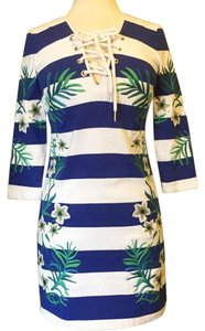 Juicy Couture short dress Blue Striped Embroidered 3/4 Sleeves Lace Up on Tradesy
