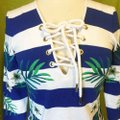 Juicy Couture short dress Blue Striped Embroidered 3/4 Sleeves Lace Up on Tradesy Image 1