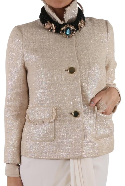 Item - Pink Silver Lining Buttons Pockets Tweed Jacket Blazer Size 4 (S)