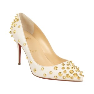 Christian Louboutin Leather Pointed Toe Spike Studded White Pumps