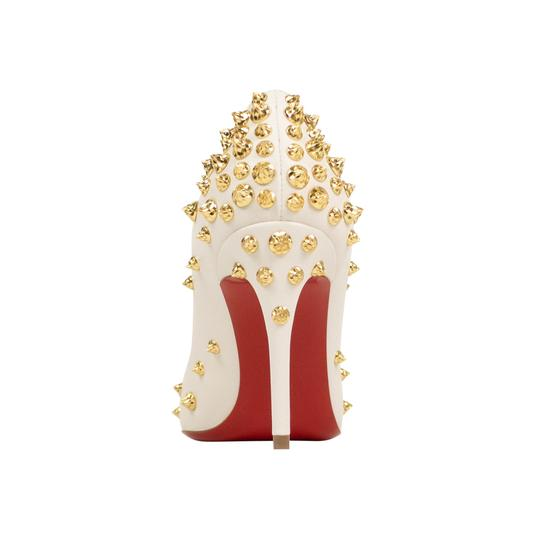 Christian Louboutin Leather Pointed Toe Spike Studded White Pumps Image 3