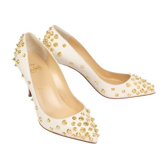 Christian Louboutin Leather Pointed Toe Spike Studded White Pumps Image 1