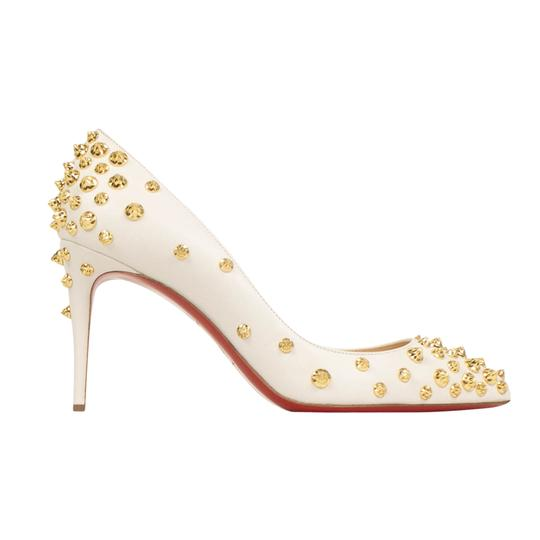 Christian Louboutin Leather Pointed Toe Spike Studded White Pumps Image 2
