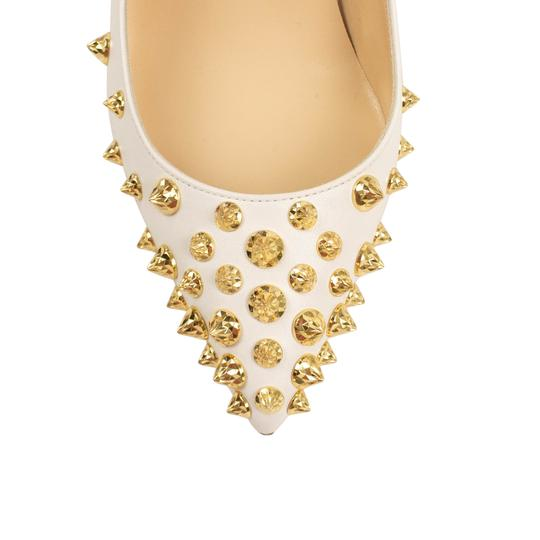 Christian Louboutin Leather Pointed Toe Spike Studded White Pumps Image 4