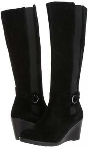 Blondo Wedge Tall Riding Suede Waterproof Black Boots