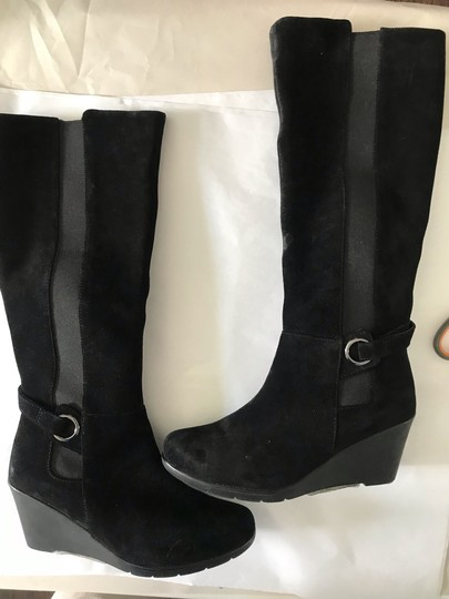 Blondo Wedge Tall Riding Suede Waterproof Black Boots Image 4