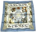 Hermès Silk Scarf Carre Dogs Blue Seals Birds Ice La Vie Du Grand Nord 90 cm Image 0