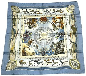 Hermès Silk Scarf Carre Dogs Blue Seals Birds Ice La Vie Du Grand Nord 90 cm