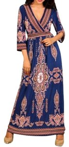 Royal Blue Maxi Dress by L'apogee Maxi Ethnic Tribal Striped