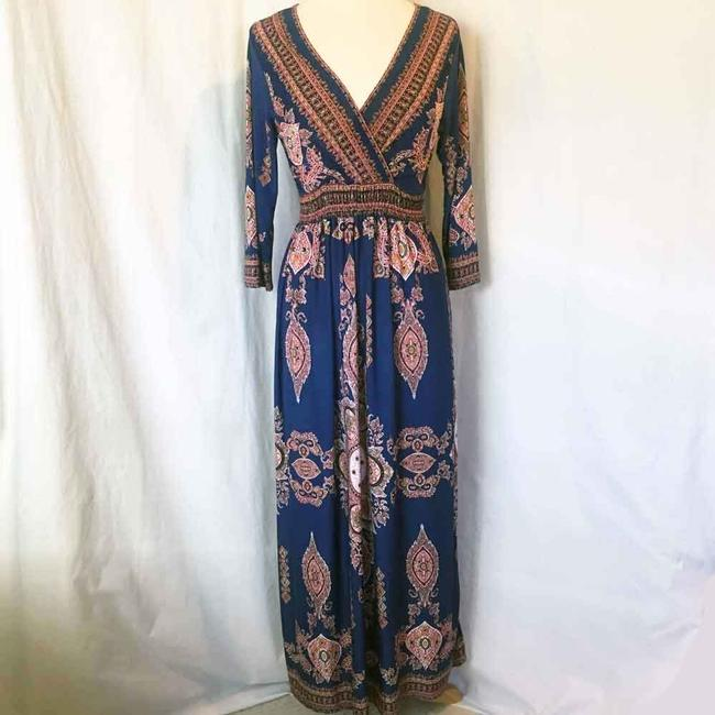 Royal Blue Maxi Dress by L'apogee Maxi Ethnic Tribal Striped Image 1