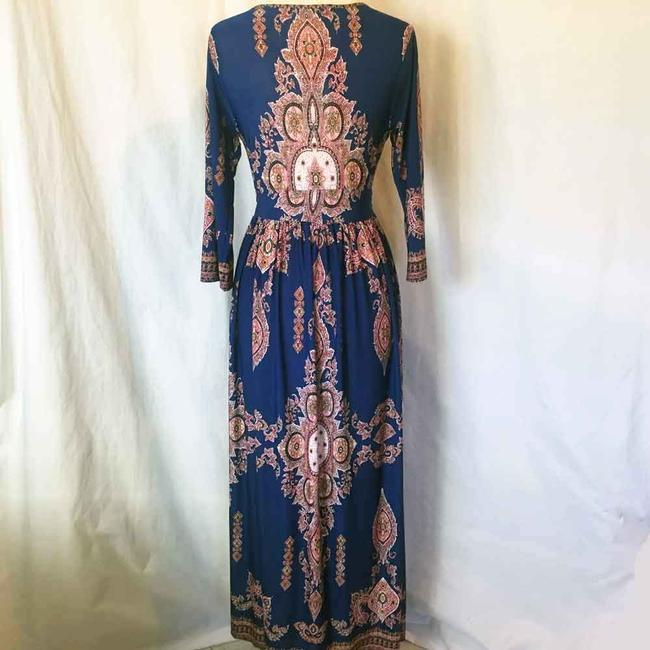 Royal Blue Maxi Dress by L'apogee Maxi Ethnic Tribal Striped Image 2