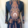 Royal Blue Maxi Dress by L'apogee Maxi Ethnic Tribal Striped Image 3