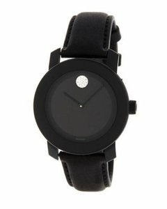 Movado NEW WOMEN'S MOVADO (3600483) BOLD BLACK LEATHER STRAP CRYSTAL WATCH