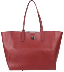 MCM Tan/Silver Leather Medium Reversible Tote in Ruby Tan/Silver
