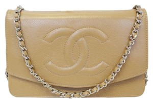 Chanel Crossbody Leather Beige Clutch
