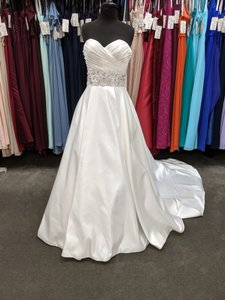 Mori Lee White/Silver Satin 4969 Feminine Wedding Dress Size 8 (M)