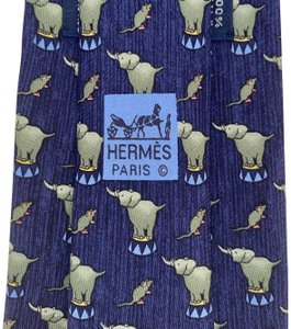 Hermès HERMES SILK MENS NECK TIE ELEPHANT & MOUSE CIRCUS WHIMSICAL BLUE GRAY