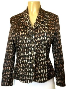 Samuel Dong Blazer Stretchy Animal Print brown Jacket