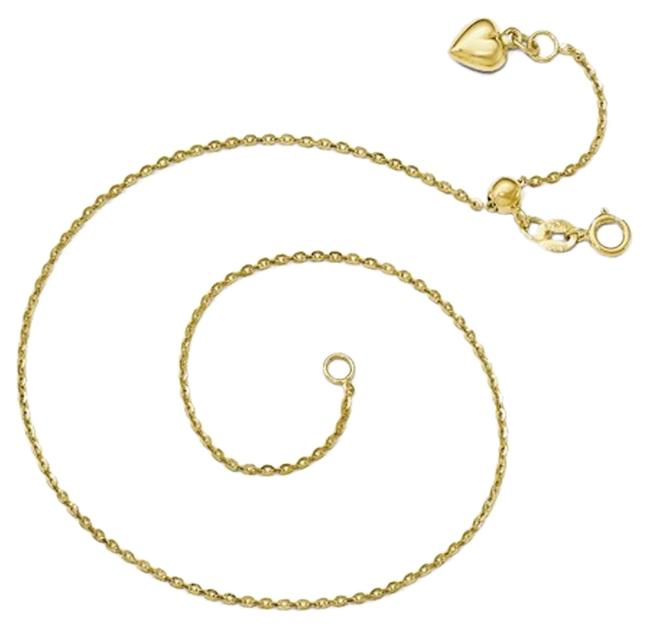 Item - 14k Yellow Gold Heart Charm Anklet Adjustable Up To 11 Inches New