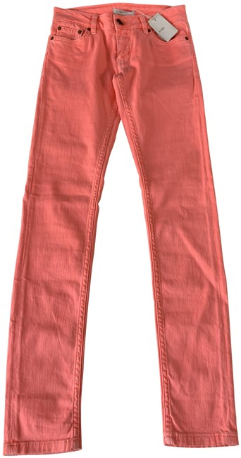 Item - Coral Medium Wash E15 Panico Bright Neon Pink Low Rise Skinny Jeans Size 24 (0, XS)