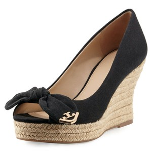 Tory Burch Jute Bow Canvas Black Wedges