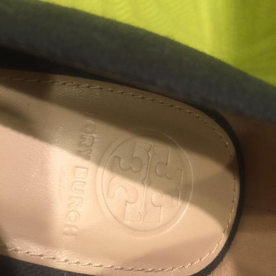 Tory Burch Jute Bow Canvas Black Wedges Image 1