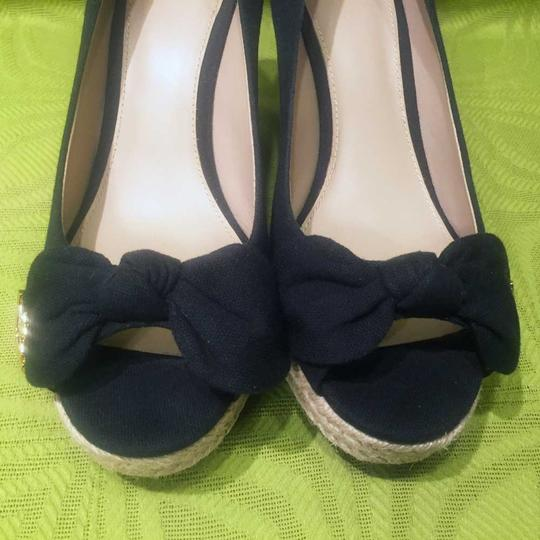 Tory Burch Jute Bow Canvas Black Wedges Image 3