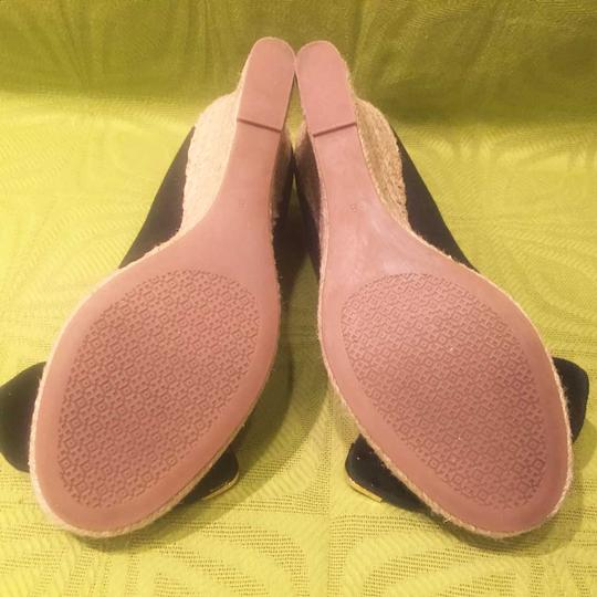 Tory Burch Jute Bow Canvas Black Wedges Image 6