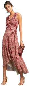 Red Cream Maxi Dress by Anthropologie