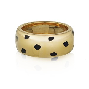 Cartier Black Spotted Lacquer Panthere Ring