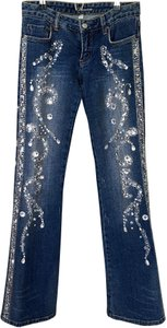 bebe Statement Piece Relaxed Fit Jeans-Dark Rinse