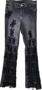 Cello Jeans Lace Black Relaxed Fit Jeans-Dark Rinse