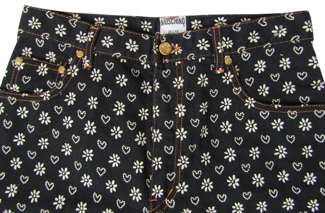 Item - Black/White Heart & Flower Print Straight Leg Jeans Size 32 (8, M)