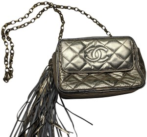 Chanel Quilted Chain Front Flap Metallic Tassels Cross Body Bag