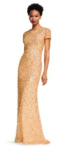 Adrianna Papell Champagne Gold Polyester Lining Polyester. Scoop Back Sequin Gown Formal Bridesmaid/Mob Dress Size 2 (XS)