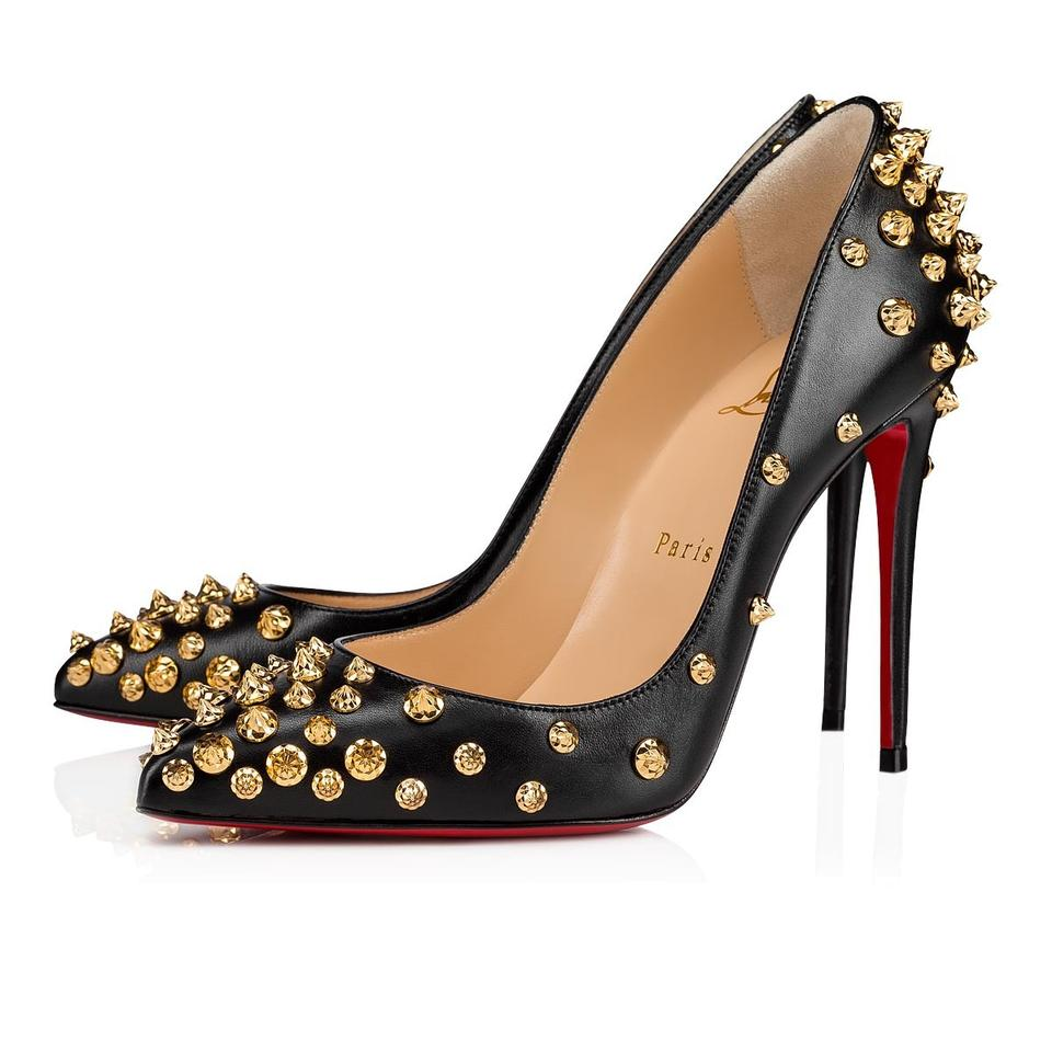 new concept 1cc19 49a67 Christian Louboutin Black/Gold Aimantaclou 100 Spiked Studded Leather Pumps  Size EU 36.5 (Approx. US 6.5) Regular (M, B) 23% off retail