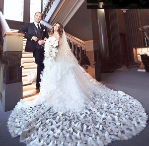Long White/Ivory 2t Butterfly Cathedral 10ft-16ft Bridal Veil