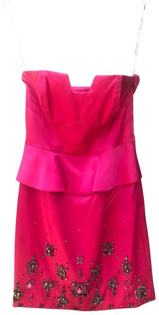 Item - Pink Hot Embellished Bustier Cocktail Short Night Out Dress Size 2 (XS)