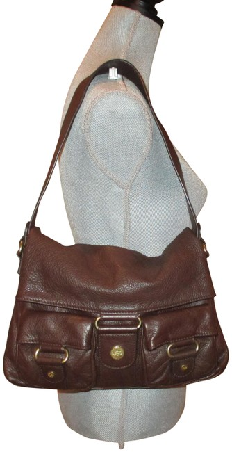 "Item - Classic Foldover Handbag Dark 8"" X 2.5"" X 12 Brown Leather and Brass Hardware Pebble Shoulder Bag"
