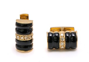 18k Gold Onyx and Diamonds Cufflinks/Studs