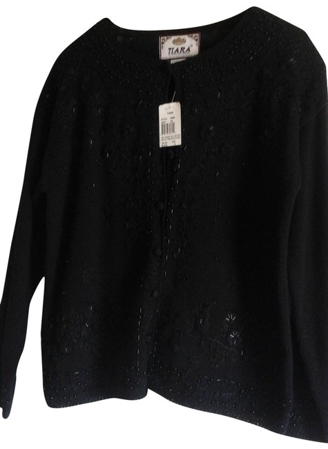 Item - Embroidered and Beaded Button Front Black Sweater